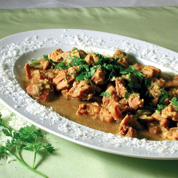 Huhn mit Curry & Kokosraspel